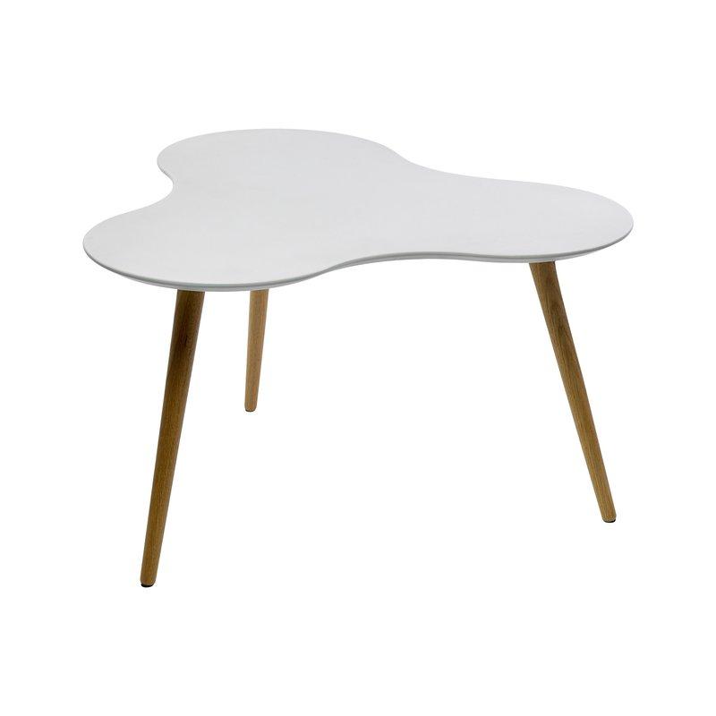 Table basse en mdf plateau blanc 80x80x43cm maison et styles - Table basse arrondie ...