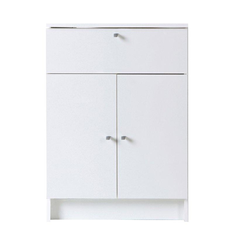 Meuble bas 2 portes 1 tiroir l59xh84xp32cm blanc for Meuble blanc 2 portes 2 tiroirs