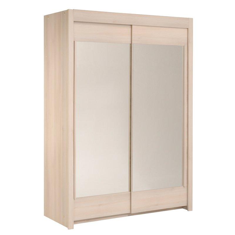 Armoire avec miroir 2 3 penderie 1 3 ling re acacia clair maison et styles - Armoire penderie avec miroir ...