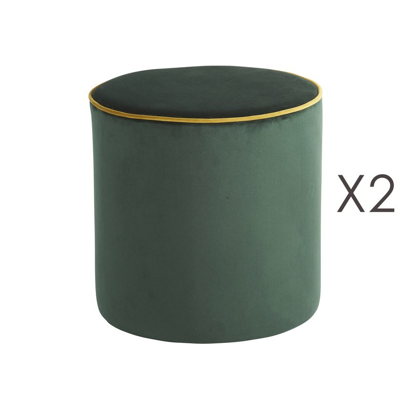 Pouf - Lot de 2 poufs Countra Empire/Bronze Diam40xH40cm photo 1