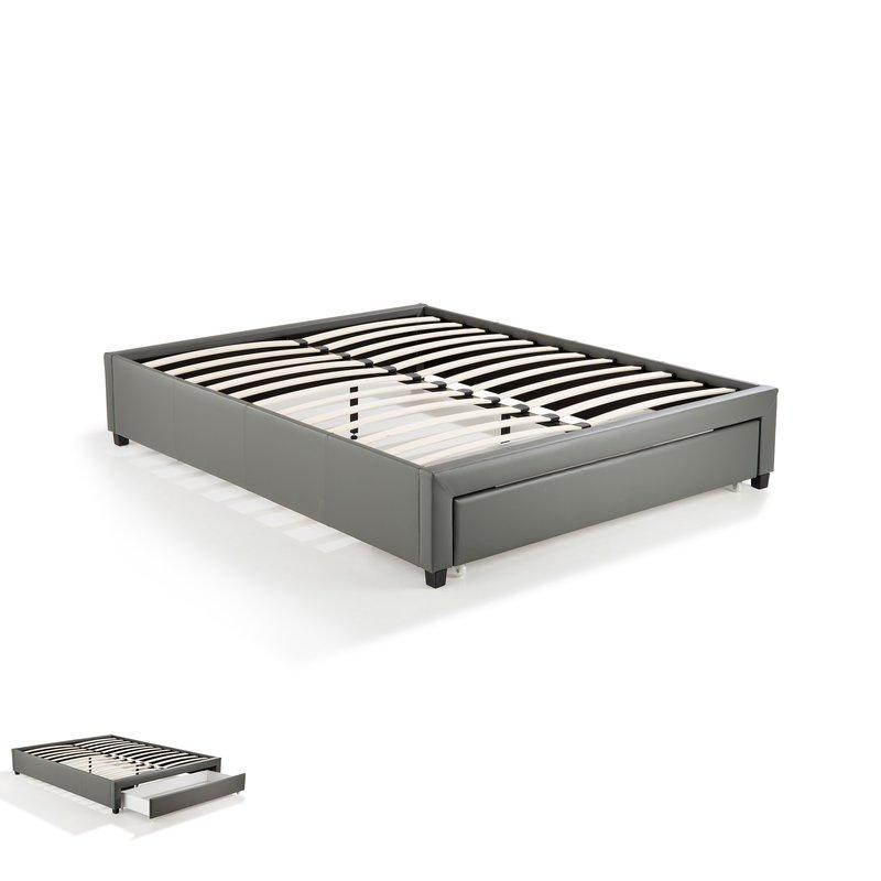 cadre lit 140x190 avec tiroir gris drawy maison et styles. Black Bedroom Furniture Sets. Home Design Ideas