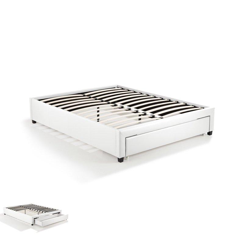 cadre lit 160x200 avec tiroir blanc drawy maison et styles. Black Bedroom Furniture Sets. Home Design Ideas