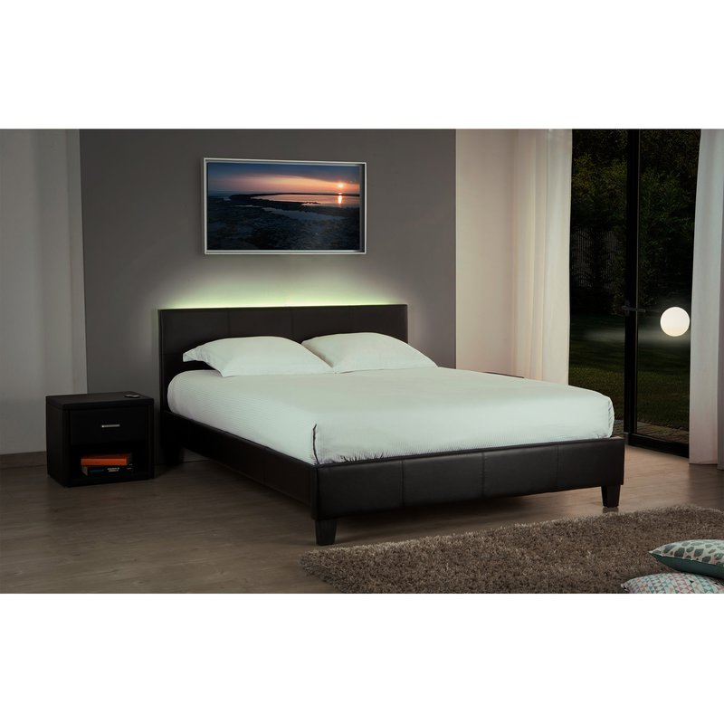 lit 160x200 option led noir bob maison et styles. Black Bedroom Furniture Sets. Home Design Ideas