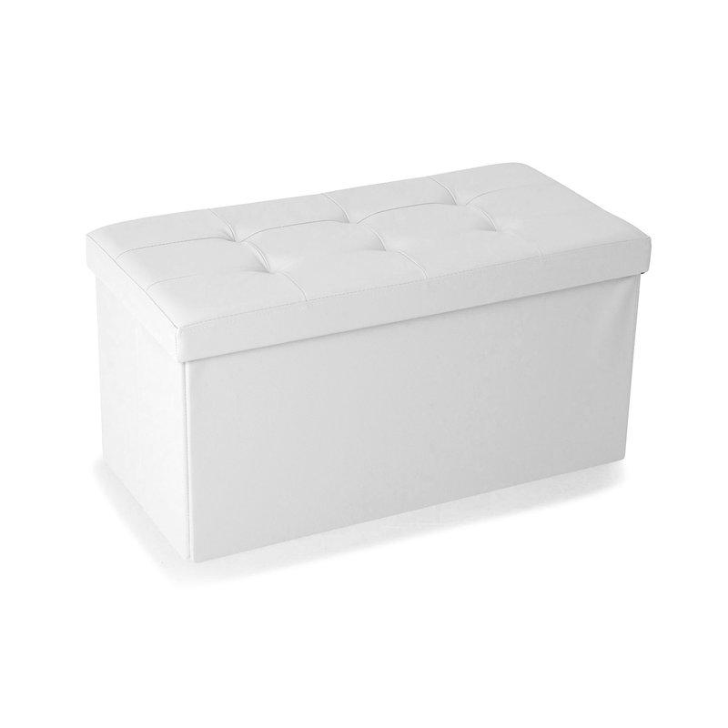 Pouf - Pouf PVC de rangement avec couvercle blanc photo 1