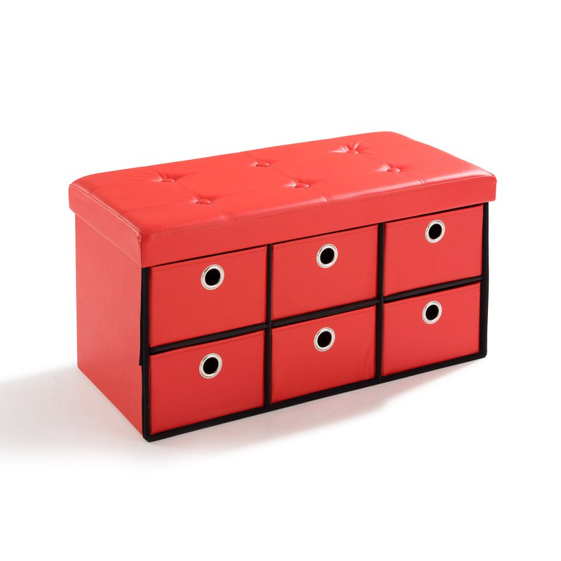 pouf pvc avec tiroirs de rangement rouge maison et styles. Black Bedroom Furniture Sets. Home Design Ideas