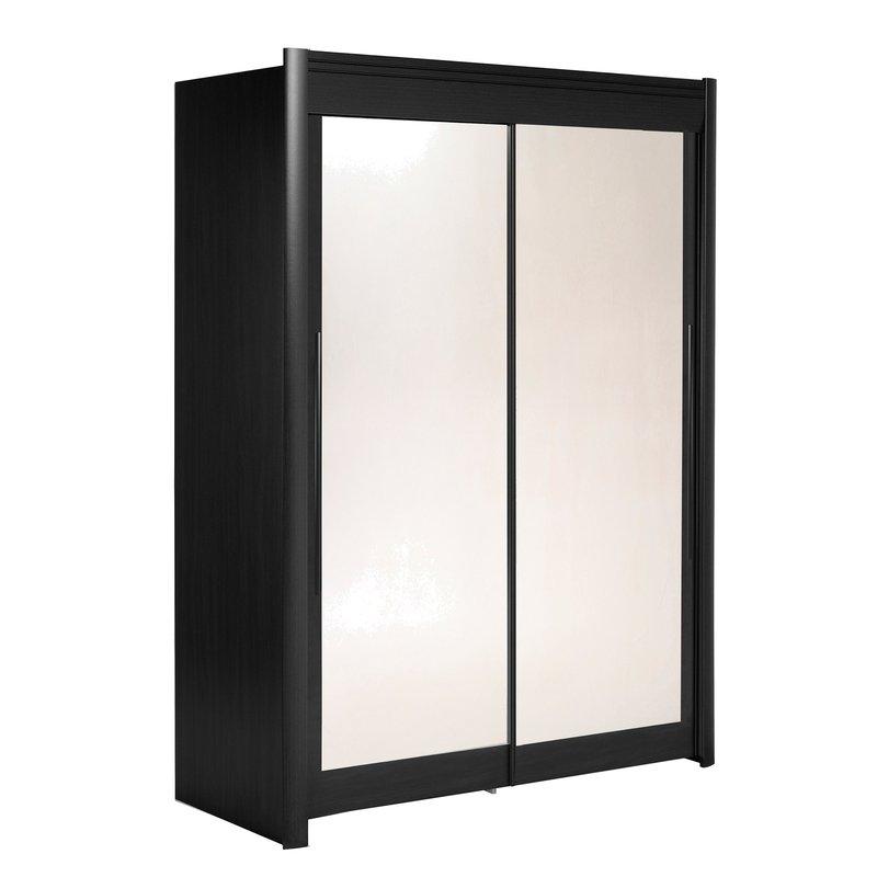 Armoire 157x207x61cm avec portes coulissantes noir maison et styles - Armoire coulissante noir ...