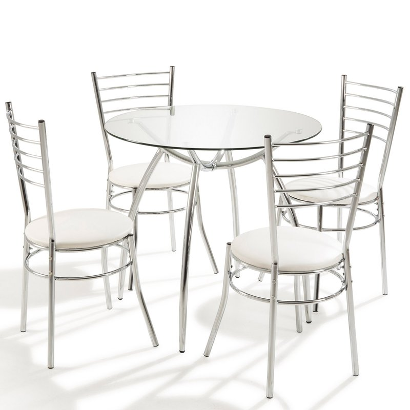 Table - Table ronde + 4 chaises Blanc photo 1