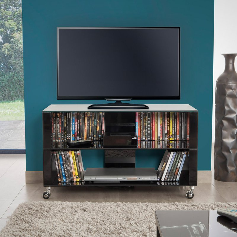 meuble tv 90 cm en verre noir chelsea maison et styles. Black Bedroom Furniture Sets. Home Design Ideas