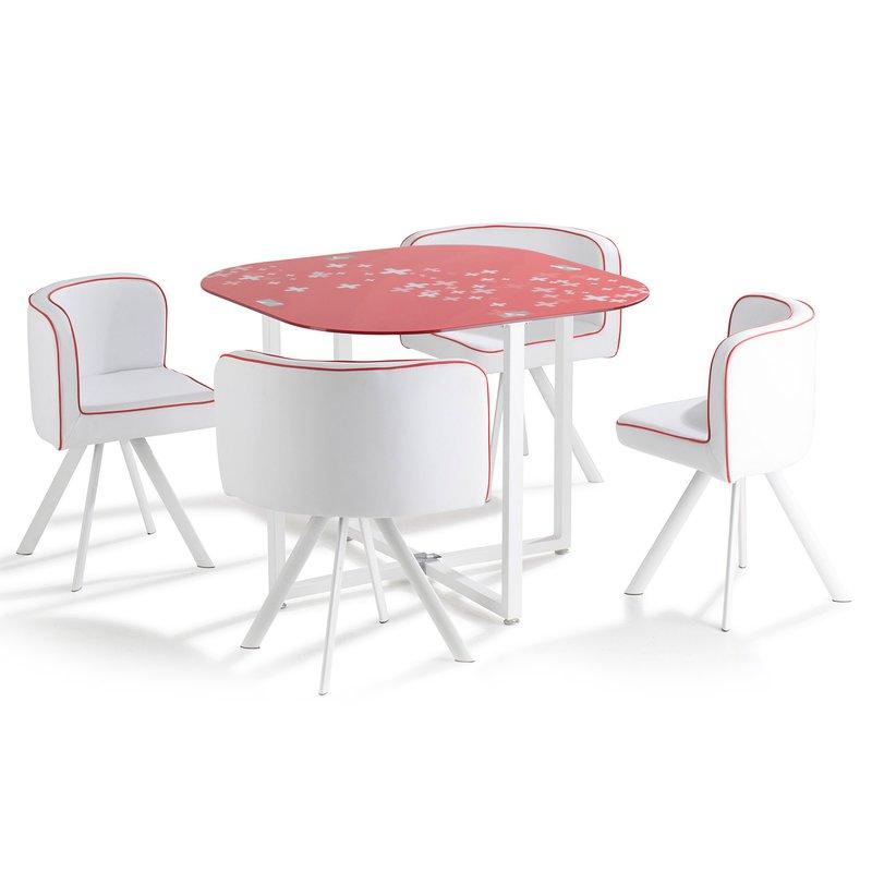 Ensemble table 4 chaises plateau verre blanc rouge maison et styles for Ensemble table et chaise blanc