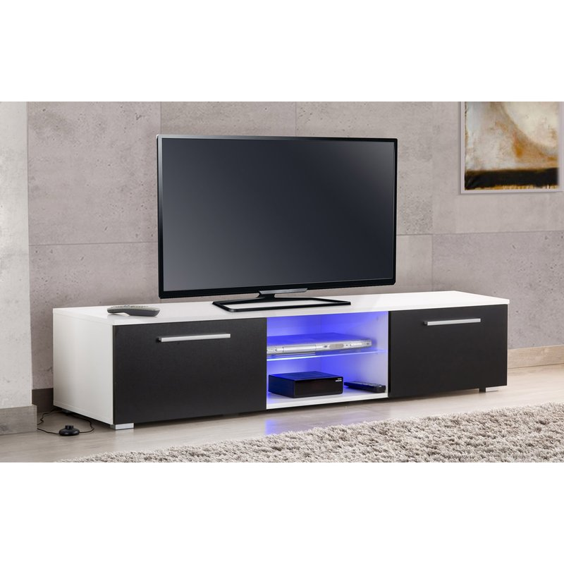 meuble tv led blanc noir usaha maison et styles. Black Bedroom Furniture Sets. Home Design Ideas