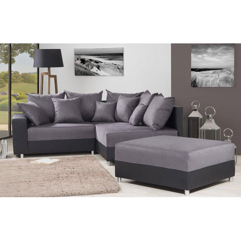 Canapé - Canapé d'angle à droite + pouf convertible en PU- tissu noir gris photo 1
