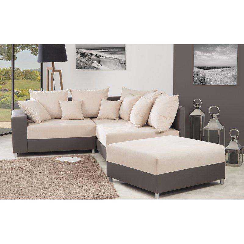canap d 39 angle droite pouf convertible en pu tissu taupe cr me maison et styles. Black Bedroom Furniture Sets. Home Design Ideas