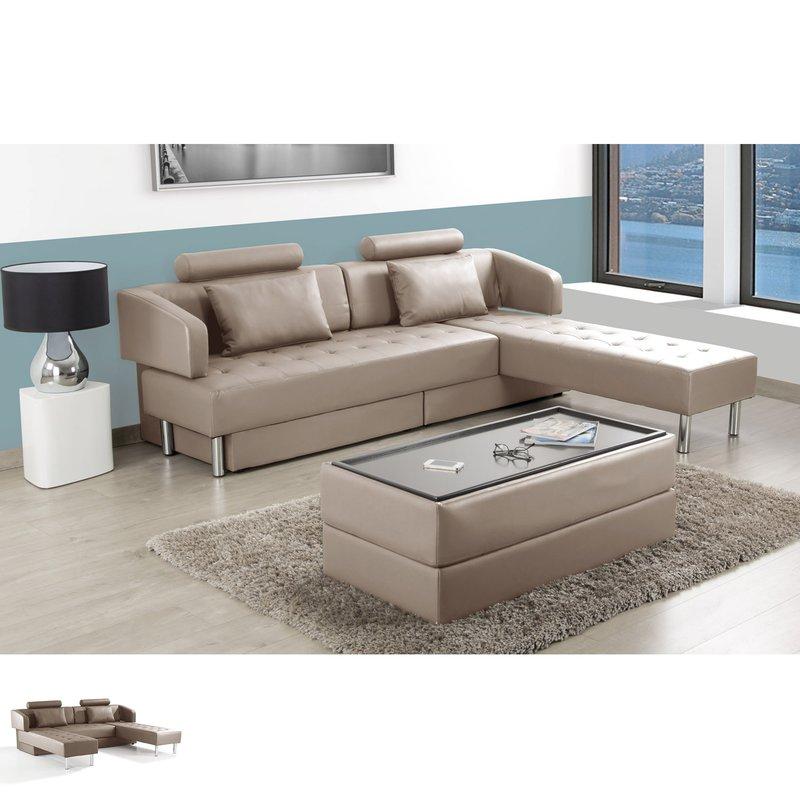 canap d 39 angle modulable avec pouf pu taupe sephia maison et styles. Black Bedroom Furniture Sets. Home Design Ideas