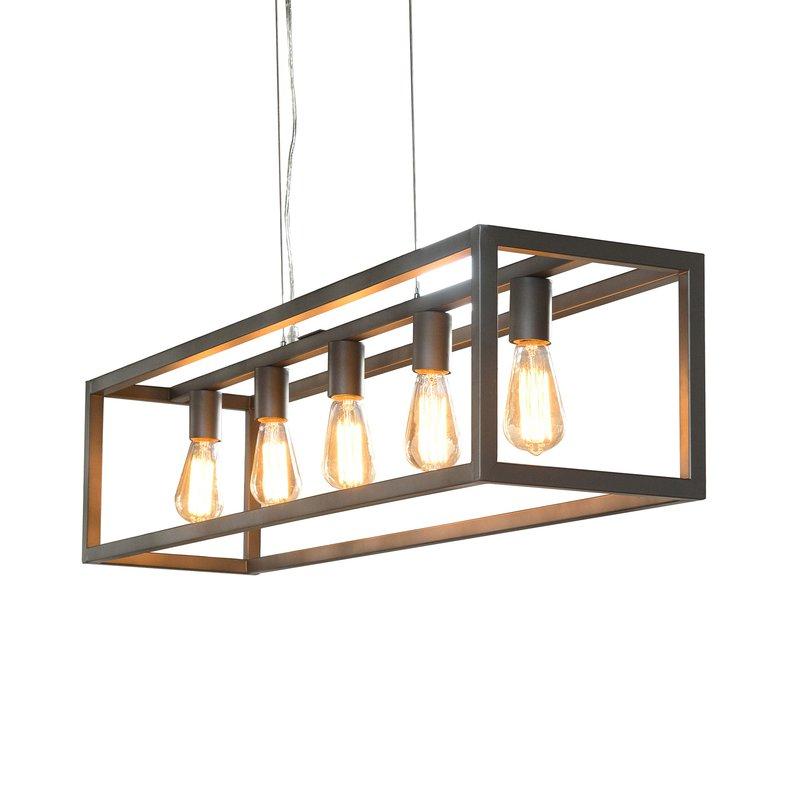 Rectangulaire 5 Finition Argent Lampes Industriel Suspension iTZPXuOk
