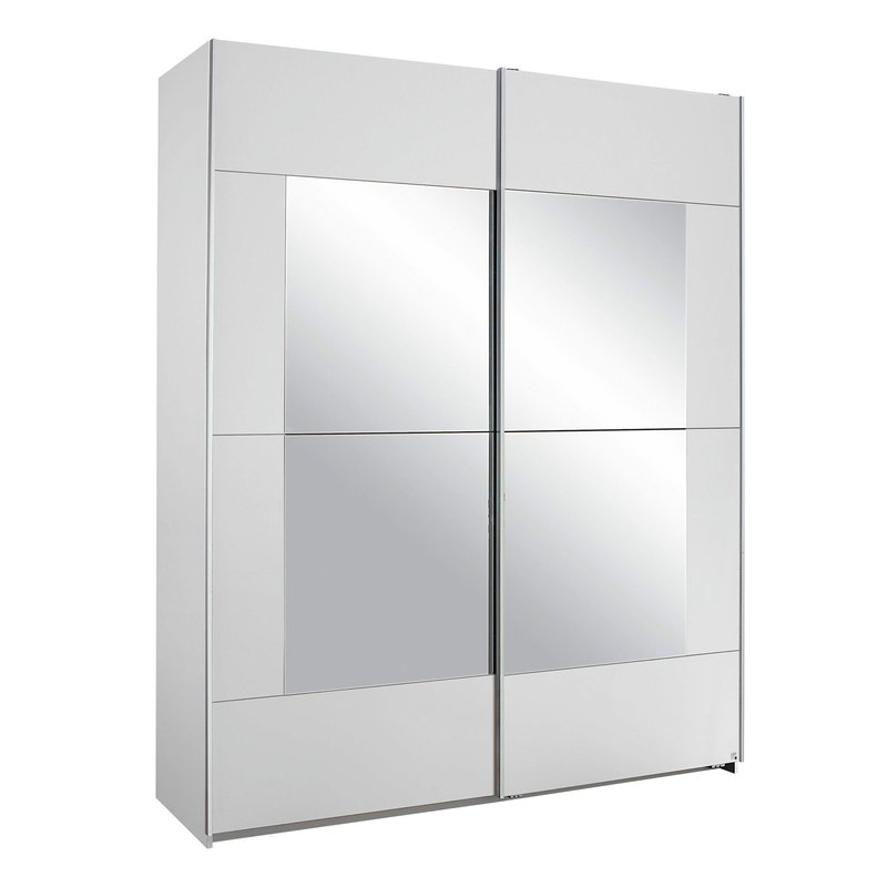 armoire 2 portes avec miroir 175x210x59cm blanc maison et styles. Black Bedroom Furniture Sets. Home Design Ideas