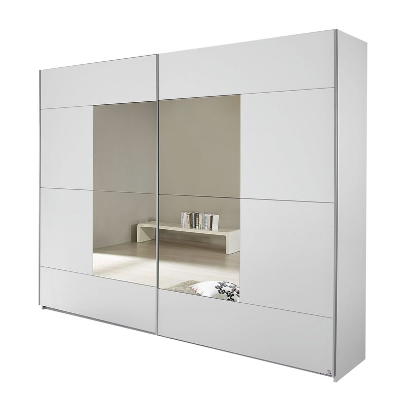 armoire 2 portes avec miroir 261x210x59cm blanc maison et styles. Black Bedroom Furniture Sets. Home Design Ideas