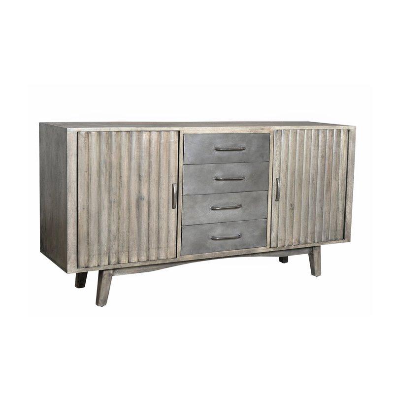 Buffet - vaisselier - Buffet 2 portes 4 tiroirs en manguier et métal photo 1