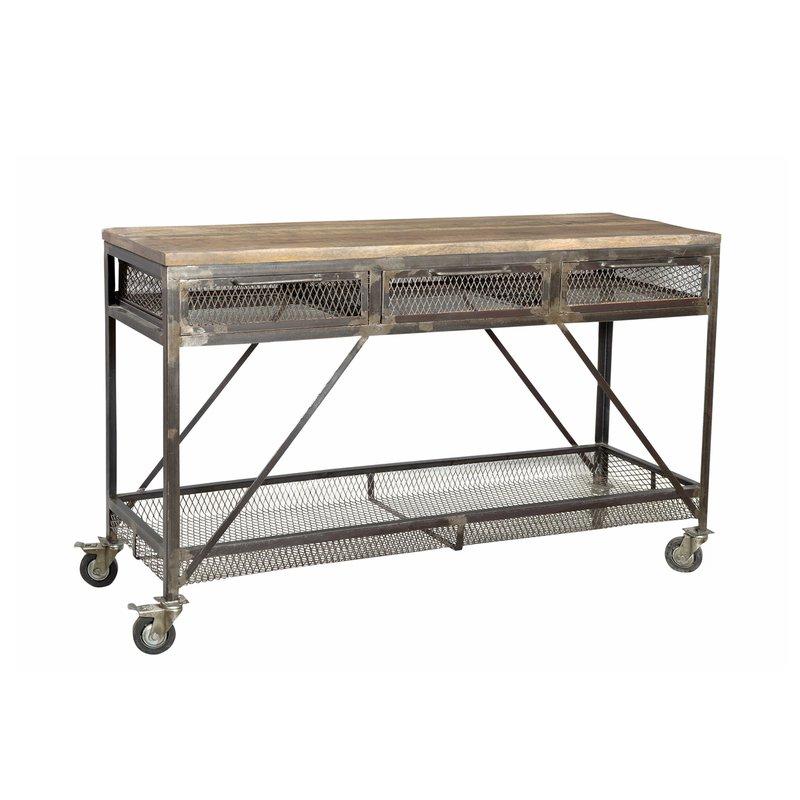 console 3 tiroirs roulettes en manguier et m tal maison et styles. Black Bedroom Furniture Sets. Home Design Ideas