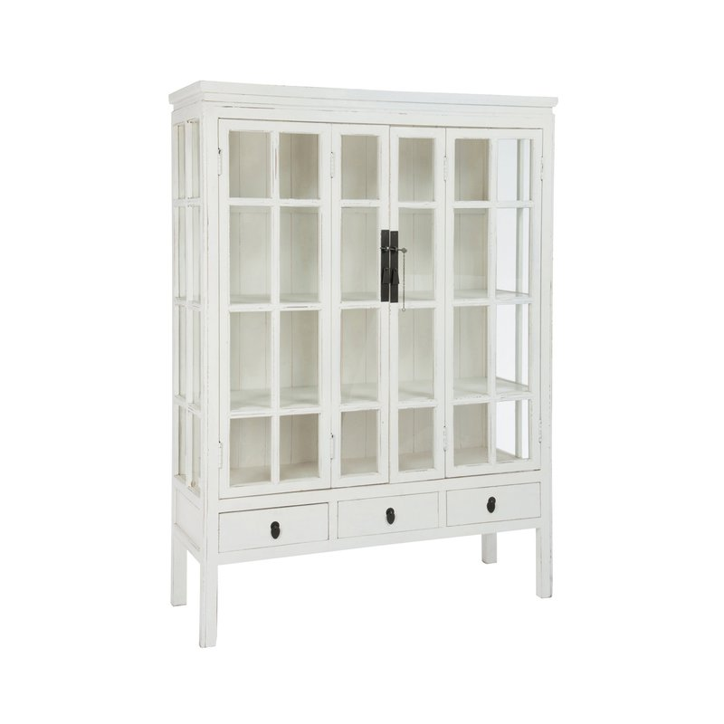 vitrine 2 portes 3 tiroirs en verre et bois blanc maison et styles. Black Bedroom Furniture Sets. Home Design Ideas