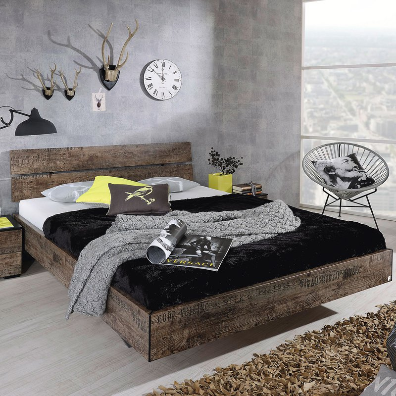 lit 90x200cm avec t te de lit chevet noir maison et styles. Black Bedroom Furniture Sets. Home Design Ideas