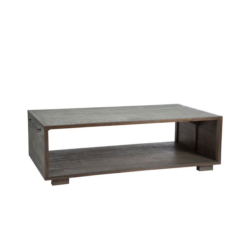 table basse 145x80x35cm en bois naturel et gris maison et styles. Black Bedroom Furniture Sets. Home Design Ideas