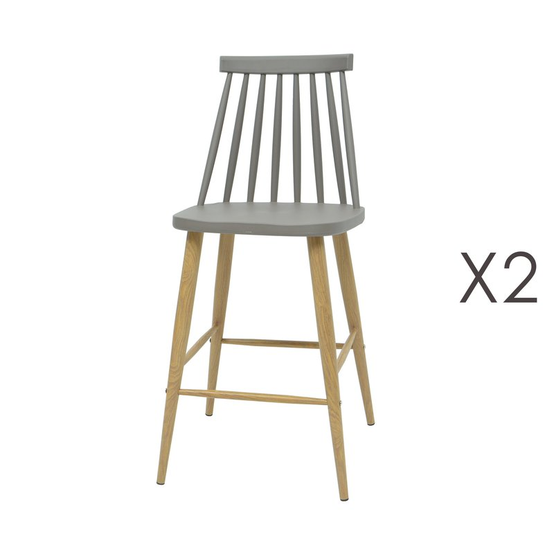 lot de 2 chaises de bar scandinave gris maison et styles. Black Bedroom Furniture Sets. Home Design Ideas