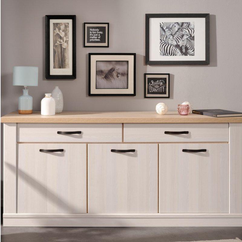 Buffet 2 tiroirs 3 portes en décor bois blanchi