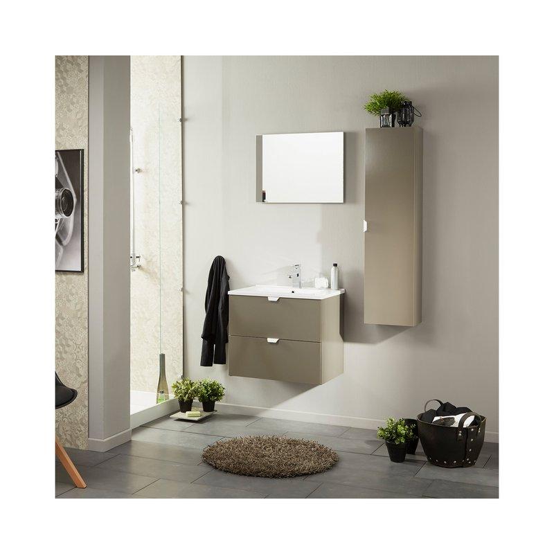 Colonne salle de bain 1 porte taupe brillant | Maison et Styles