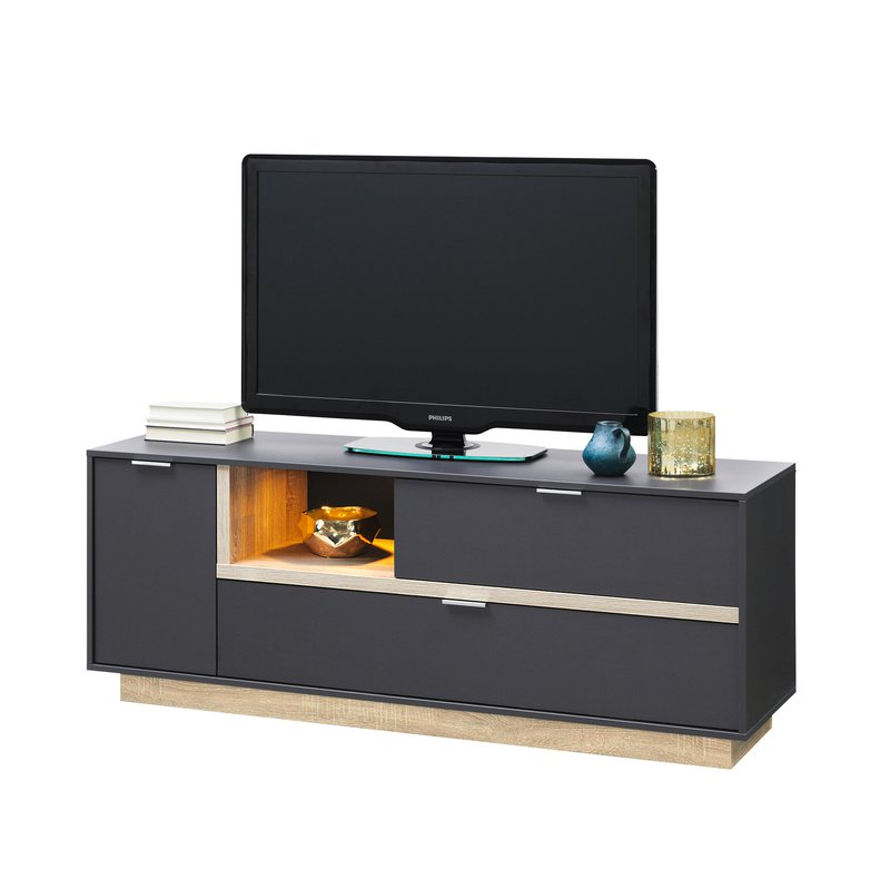 meuble tv 157x59x43cm anthracite et bois naturel maison et styles. Black Bedroom Furniture Sets. Home Design Ideas