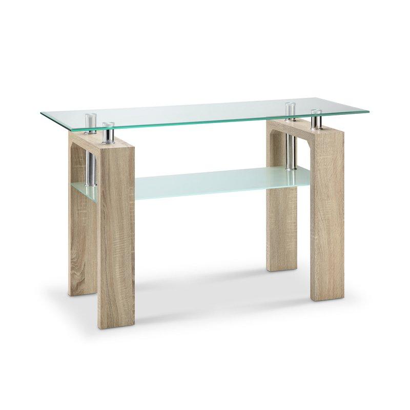 console double plateau verre d cor ch ne naturel kimmy maison et styles. Black Bedroom Furniture Sets. Home Design Ideas
