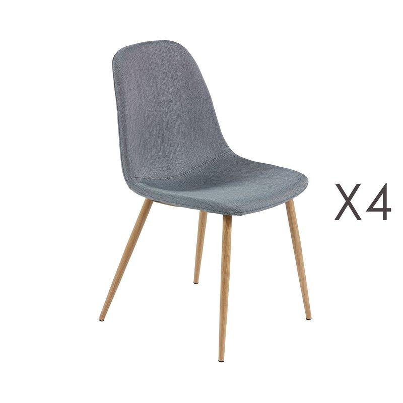 Lot de 4 chaises finition tissu gris stanislas maison for Lot de 4 chaises grises