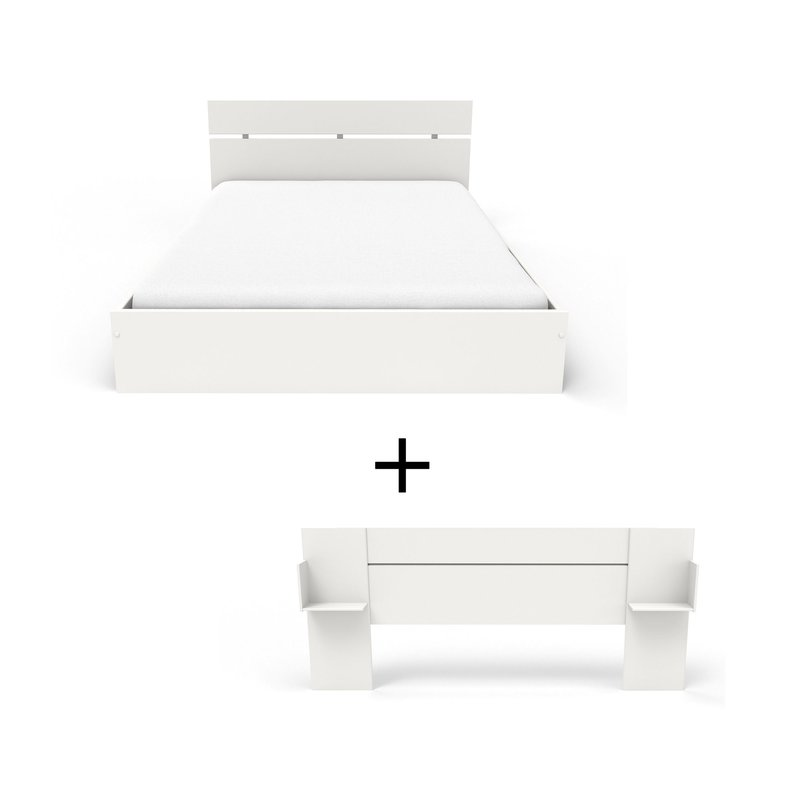 ensemble lit 160x200 cm t te de lit blanc hugo maison et styles. Black Bedroom Furniture Sets. Home Design Ideas