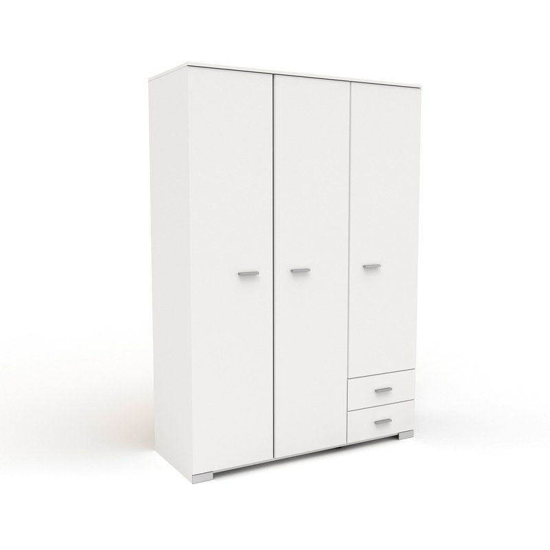 Armoire - Armoire 3 portes et 2 tiroirs 140,5x203x55 cm blanc - HUGO photo 1