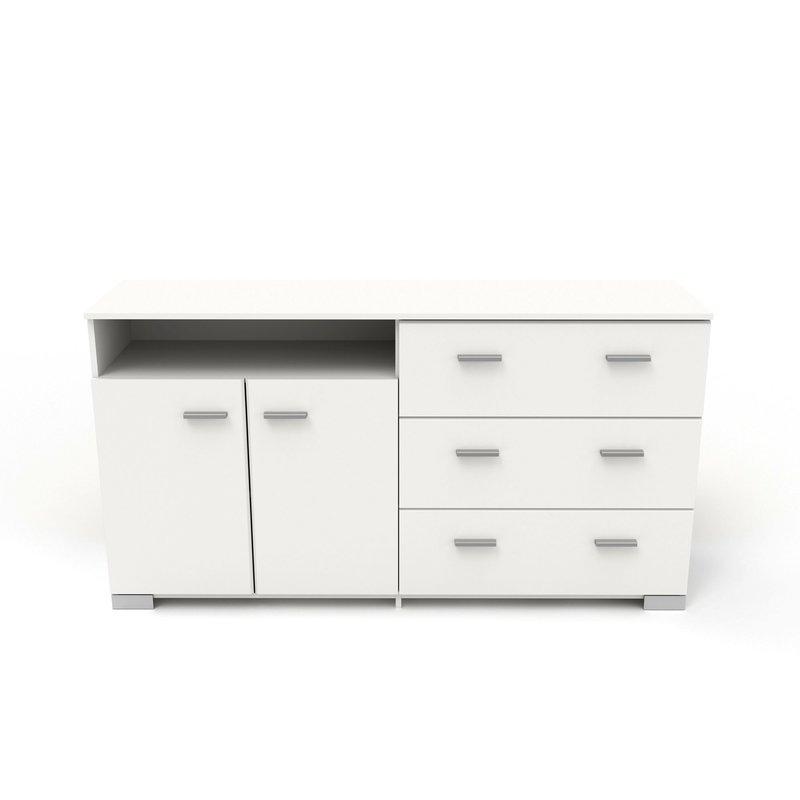 Buffet - vaisselier - Bahut 2 portes et 3 tiroirs blanc - HUGO photo 1
