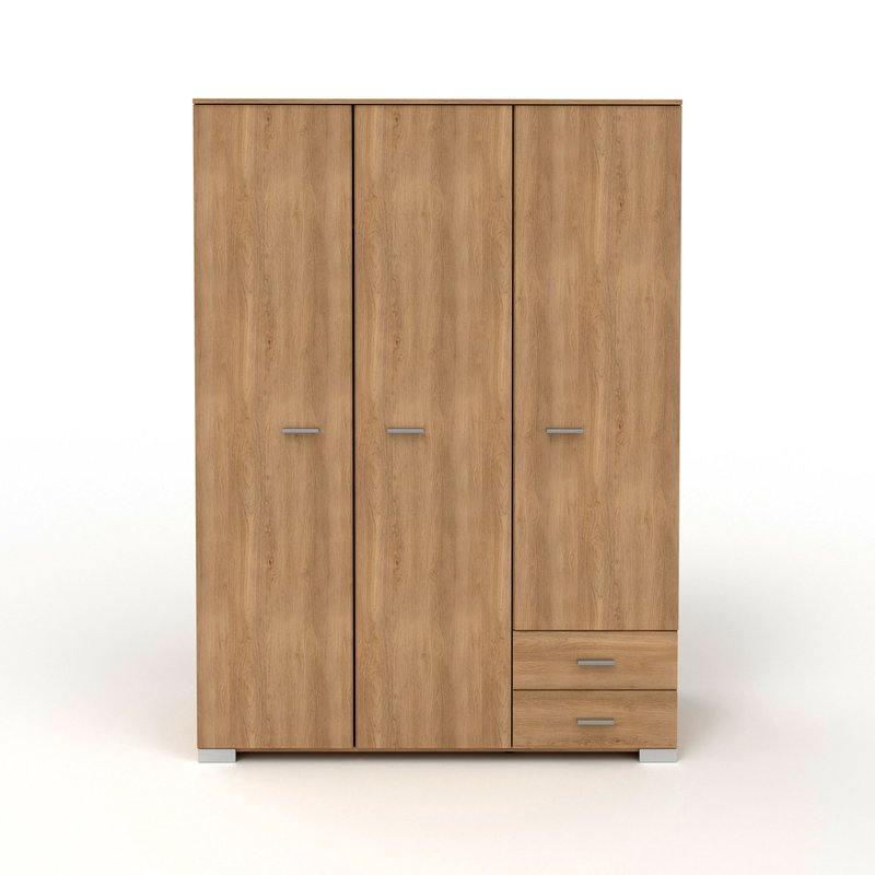 Armoire - Armoire 3 portes et 2 tiroirs 140,5x203x55 cm naturel - CANDICE photo 1