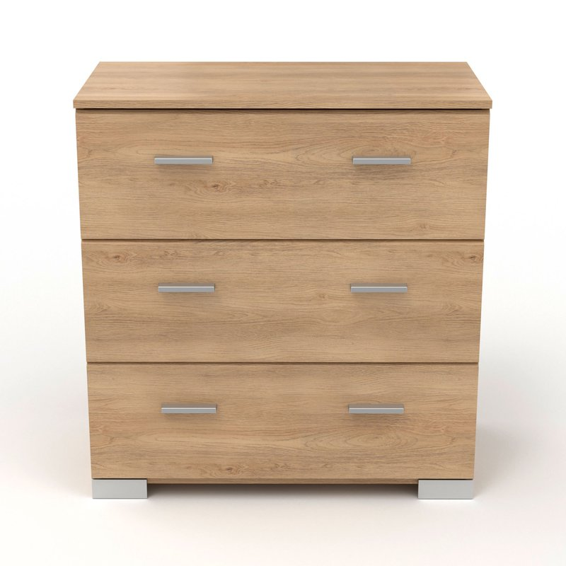 Commode - Coiffeuse - Commode 3 tiroirs naturel - CANDICE photo 1