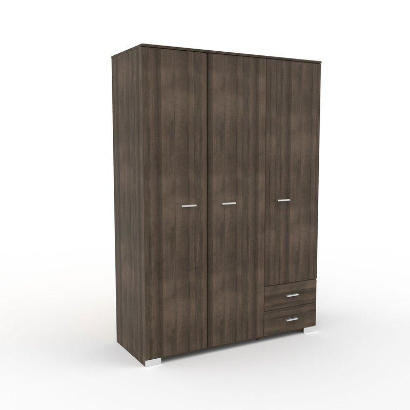 Armoire - Armoire 3 portes et 2 tiroirs 140,5x203x55 cm chêne foncé - LIVIO photo 1
