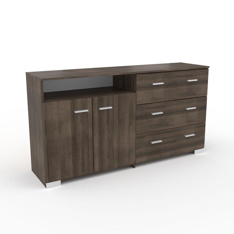 Buffet - vaisselier - Bahut 2 portes et 3 tiroirs chêne foncé - LIVIO photo 1