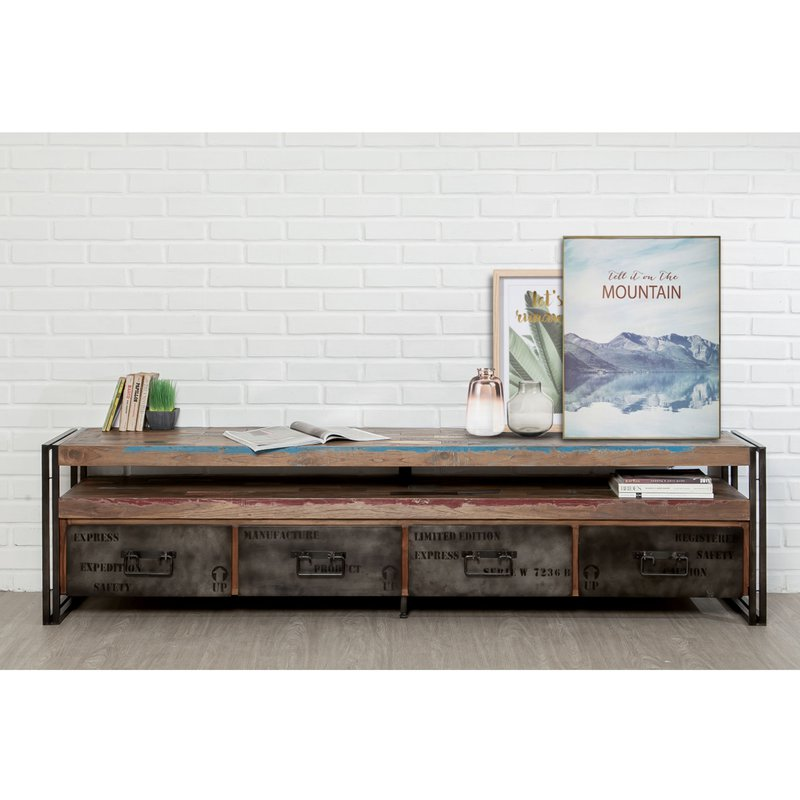 meuble tv 4 tiroirs en m tal et teck recycl tundra maison et styles. Black Bedroom Furniture Sets. Home Design Ideas