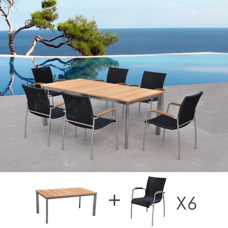 Table de jardin en teck + lot de 6 chaises en résine tréssée ...