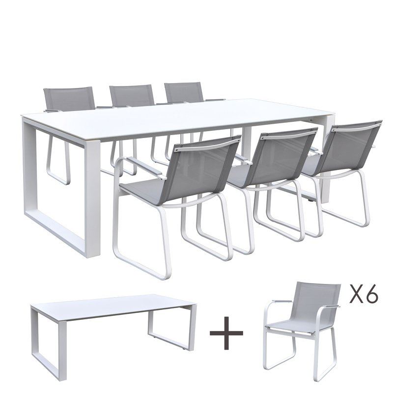 Table de jardin en aluminium et verre blanc + 6 fauteuils gris ...