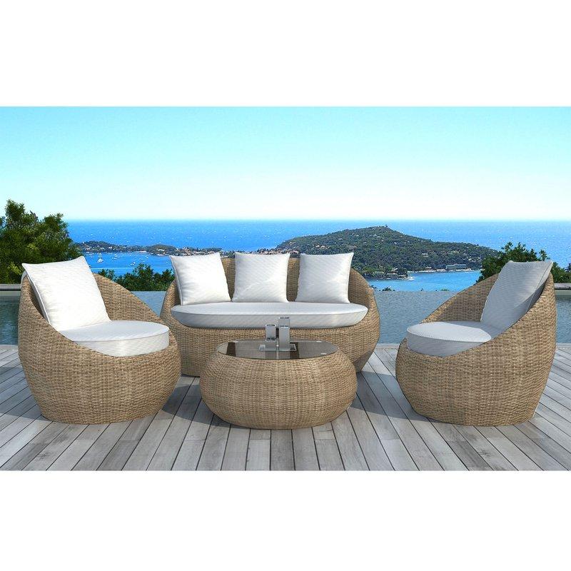 Salon de jardin 5 places en résine tréssée rotin et coussins blancs ...