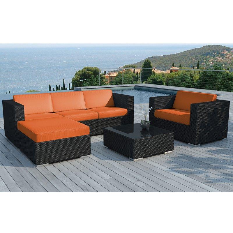 Salon de jardin 5 places en résine tréssée noire et coussins oranges ...