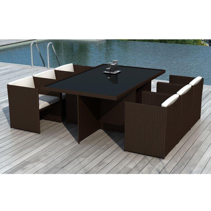 Table de jardin + 6 fauteuils en résine tréssée chocolat ...