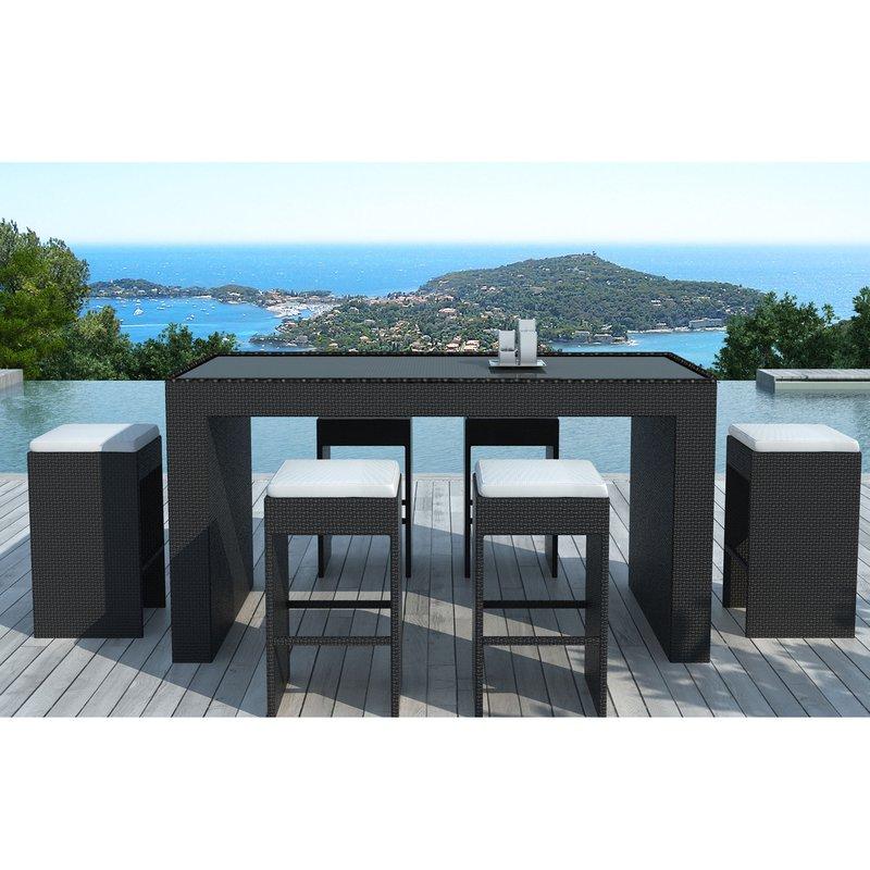 Table-bar de jardin + 6 tabourets en résine tréssée noire ...
