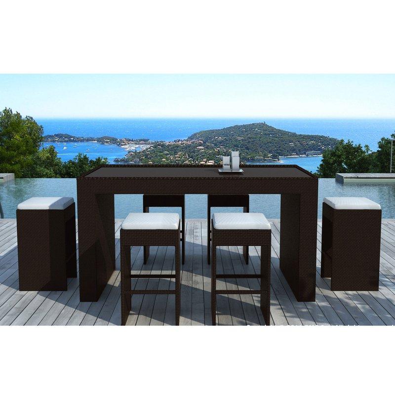 table bar de jardin 6 tabourets en r sine tr ss e chocolat maison et styles. Black Bedroom Furniture Sets. Home Design Ideas
