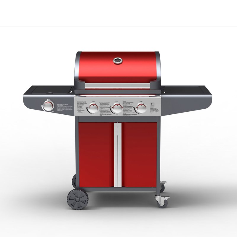 Barbecue - Barbecue gaz 4 bruleurs 126x53x105,5 cm rouge photo 1