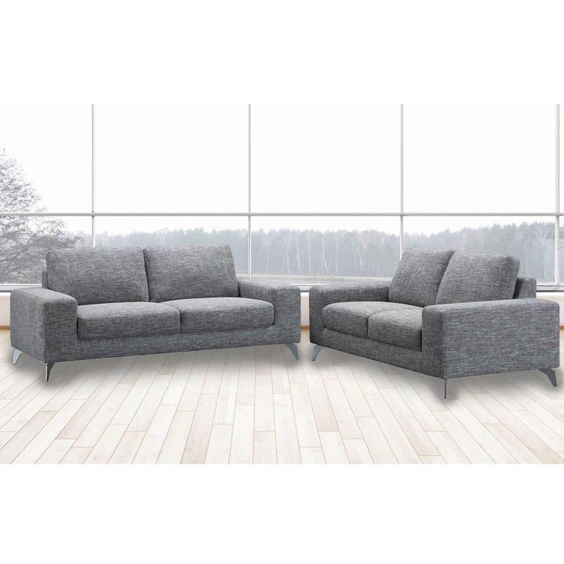 Canapé - Canapé 3 places fixe en tissu gris chiné - CHABLIS photo 1