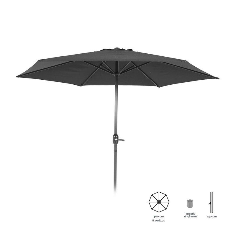 parasol inclinable 300 cm gris avec pied en aluminium maison et styles. Black Bedroom Furniture Sets. Home Design Ideas