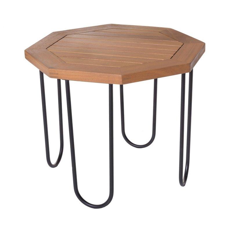 Table de jardin hexagonal 45x45x36 cm en bois et fer ...